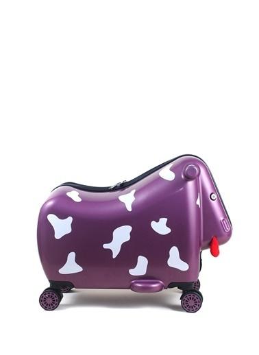 Ox Ox Moo Çekçekli Sert Mor Çocuk Valiz Mor